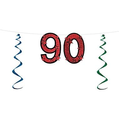 Banderole scintillante « 90 », 15 po x 7 pi, 3/paquet
