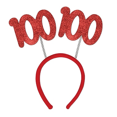 Boppers scintillants 100e, taille universelle, rouge, 3/paquet