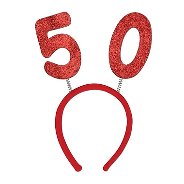 Boppers scintillants 50e, taille universelle, rouge, 3/paquet