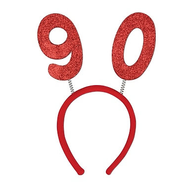 Boppers scintillants 90e, taille universelle, rouge, 3/paquet
