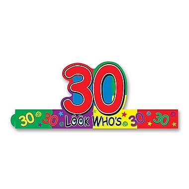 Beistle Look Who's 30 Headband, Multicolor, 8/Pack