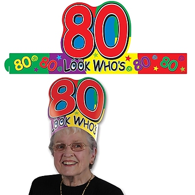Beistle Look Who's 80 Headband, Multicolor, 8/Pack