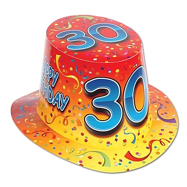 Chapeau haut-de-forme «Happy 30 Birthday», orange, taille universelle, 25/paquet
