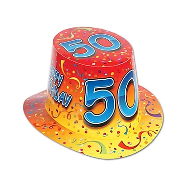 Chapeau haut-de-forme «Happy 50 Birthday», orange, taille universelle, 25/paquet