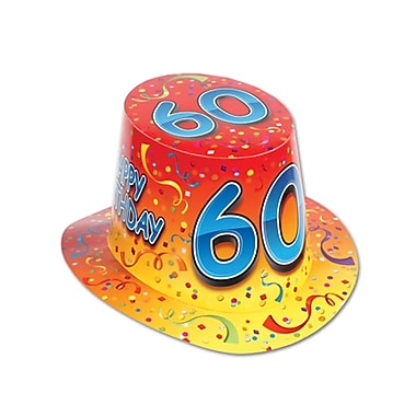 Chapeau haut-de-forme «Happy 60 Birthday», orange, taille universelle, 25/paquet