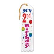 "Biestle 2"" x 8"" My 2nd Birthday Award Ribbon, 9/Pack"