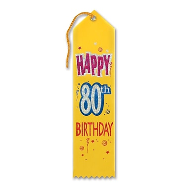 Ruban « Happy 80th Birthday », 2 x 8 po, 9/paquet