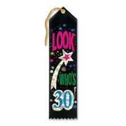 "Biestle 2"" x 8"" Look Who's 30 Award Ribbon, Black, 9/Pack"