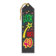 "Biestle 2"" x 8"" Look Who's 40 Award Ribbon, Black, 9/Pack"