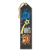 "Biestle 2"" x 8"" Look Who's 50 Award Ribbon, 9/Pack"