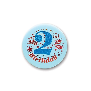 My 2nd Birthday Satin Button, Blue, 2