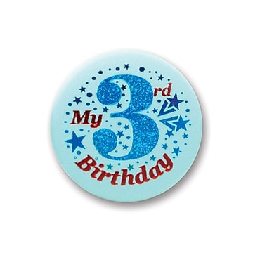 My 3rd Birthday Satin Button, Blue, 2