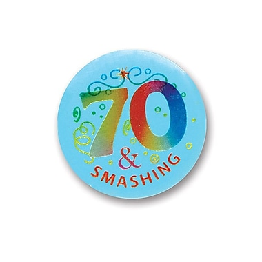 Bouton satiné « 70 & Smashing », 2 po, 7/paquet