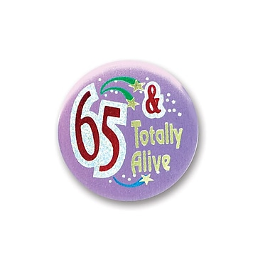 Bouton satiné « 65 & Totally Alive », 2 po, 7/paquet