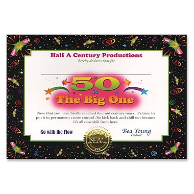 Certificat « 50 Is The Big One », 5 x 7 po, 8/paquet