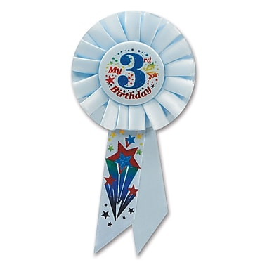 Rosette « Boy's 3rd Birthday », 3 1/4 x 6 1/2 po, 3/paquet