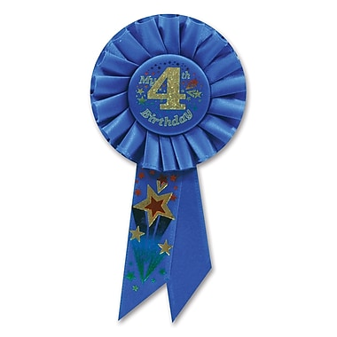 Rosette « Boy's 4th Birthday », 3 1/4 x 6 1/2 po, 3/paquet