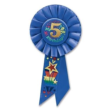 Rosette « Boy's 5th Birthday », 3 1/4 x 6 1/2 po, 3/paquet