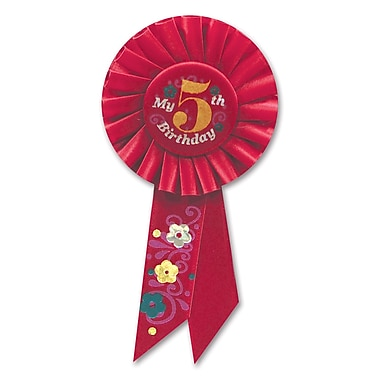 Rosette « Girl's 5th Birthday », 3 1/4 x 6 1/2 po, 3/paquet