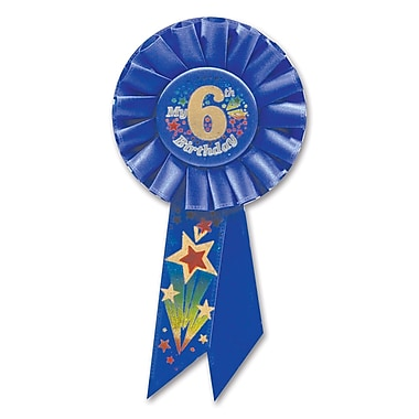 Boy's 6th Birthday Rosette, 3-1/4