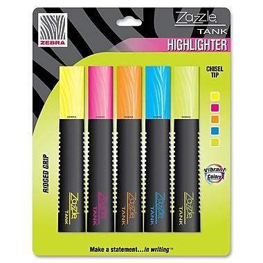 Zebra® Zazzle® Tank Highlighter, Chisel Tip, 5-Colour Pack