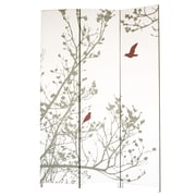 "Nexxt Bota Screen, Bird, Red and Taupe, 47"" x 71"""