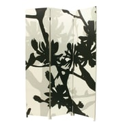 "Nexxt Bota Screen, Floral, Black and Taupe, 47"" x 71"""