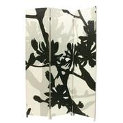 Nexxt – Paravent Bota, motif floral, noir et taupe, 47 x 71 po