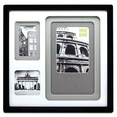 Nexxt Trio Layered Mat Photo Frame, 3-Opening with Neutral Color Mat, 14
