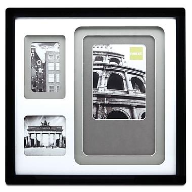 Nexxt – Cadre à triple cadrage intérieur, 3 ouvertures avec cadres intérieurs neutres, 14 x 14 x 1 1/2 po, noir