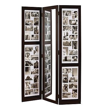 Nexxt - Paravent à trois panneaux pour photos Preston avec miroir, 65 po x 42 po x ¾ po