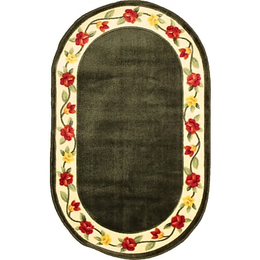 Anglo Oriental - Tapis décoratif oval Eternal, 3 pi 0 po x 5 pi 0 po, vert