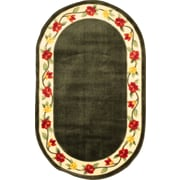 """Anglo Oriental Eternal Oval Area Rug, 5'0"""" x 8'0"""", Green"""