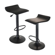 Winsome® Obsidian Faux Leather Swivel Airlift Adjustable Stool With Metal Post and Base, Black