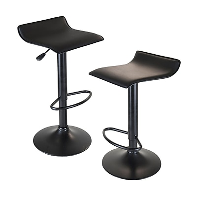 Winsome® Obsidian Faux Leather Swivel Airlift Adjustable Stool With Metal Post & Base, Black, 2/Set