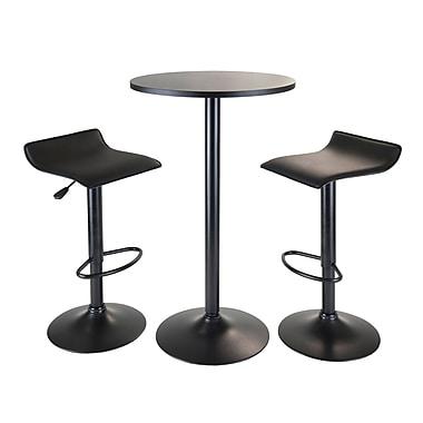 Winsome – Ensemble 3 pièces de la collection Obsidian avec table ronde de style pub et 2 tabourets pneumatique, fini noir