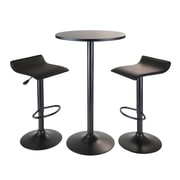 "Winsome® Obsidian 39.76"" MDF Veneer 3 Piece Round Table Pub Set With 2 Airlift Stools, Black"