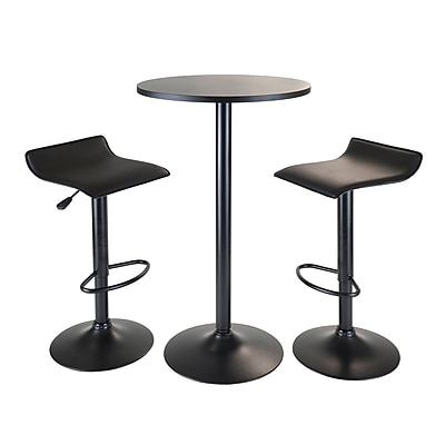 """Winsome® Obsidian 39.76"""" MDF Veneer 3 Piece Round Table Pub Set With 2 Airlift Stools, Black"""