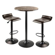 "Winsome® Cora 40.04"" Faux Marble 3 Piece Round Pub Table Set With 2 Swivel Stools, Black/Espresso"