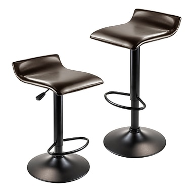 Winsome Paris Airlift Adjustable Swivel Stool with PU Leather Seat and Black Metal Base, Set of 2