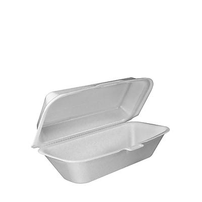Foam Hoagie Container With Removable Lid, 9-4/5 x 5-3/10 x 3-3/10, White, 125/bag