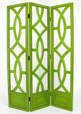 Wayborn 76'' x 54'' Charleston 3 Panel Room Divider; Distressed Green