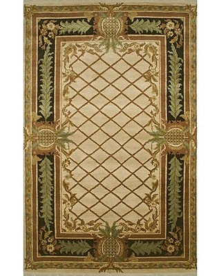 American Home Rug Co. Palm Beach Beige Pineapple Aubusson Area Rug; Runner 2'6'' x 10'