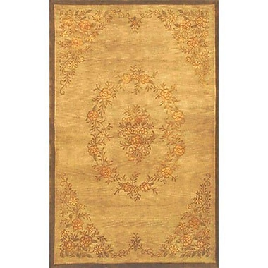 American Home Rug Co. Neo Nepal Aubusson Flowers Gold Area Rug; 3'6'' x 5'6''