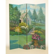 Wayborn 72'' x 64'' Covered Bridge in the Countryside 4 Panel Room Divider