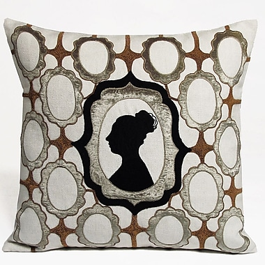 Kevin O'Brien Studio Silhouette Embellished Linen Throw Pillow; Taupe
