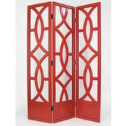 Wayborn 76'' x 54'' Geometric Emblem 3 Panel Room Divider; Red