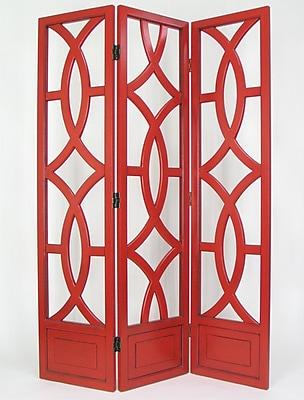 Wayborn 76'' x 54'' Geometric Emblem 3 Panel Room Divider; Red