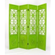 Wayborn 78'' x 72'' Spider Web 4 Panel Room Divider; Distressed Green