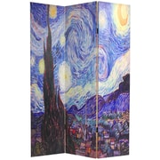 Oriental Furniture 70.88'' x 47.25'' Works of Van Gogh 3 Panel Room Divider